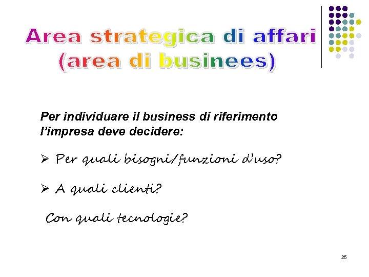 Per individuare il business di riferimento l'impresa deve decidere: Ø Per quali bisogni/funzioni d'uso?