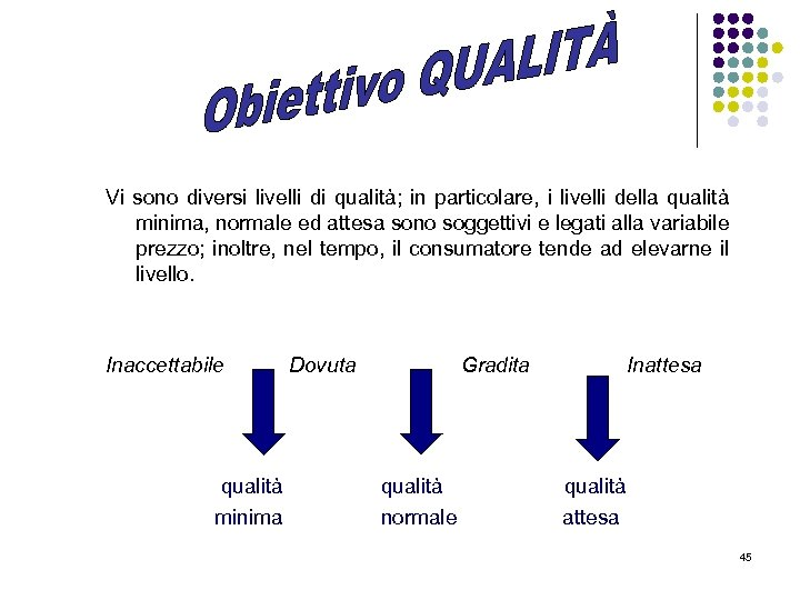 Vi sono diversi livelli di qualità; in particolare, i livelli della qualità minima, normale