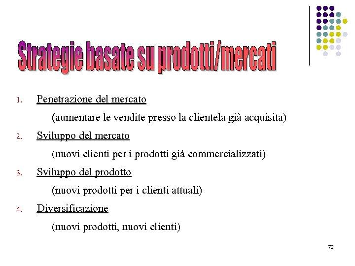 1. Penetrazione del mercato (aumentare le vendite presso la clientela già acquisita) 2. Sviluppo