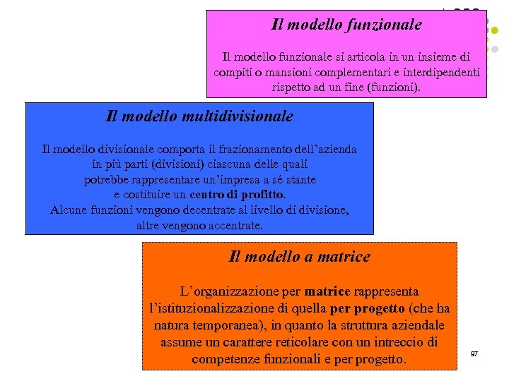Il modello funzionale si articola in un insieme di compiti o mansioni complementari e