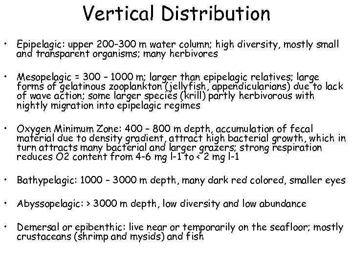 Vertical Distribution • Epipelagic: upper 200 -300 m water column; high diversity, mostly small