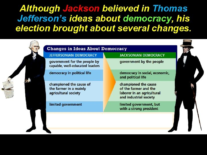 Although Jackson believed in Thomas Jefferson's ideas about democracy, his election brought about several
