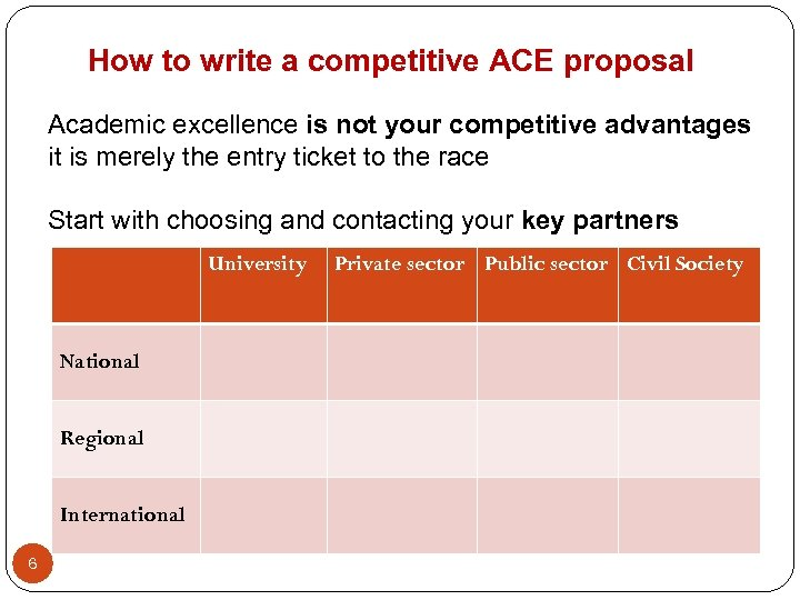 How to write a competitive ACE proposal Academic excellence is not your competitive advantages