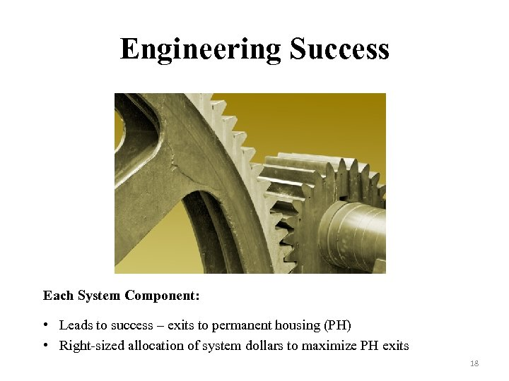Engineering Success Each System Component: • Leads to success – exits to permanent housing