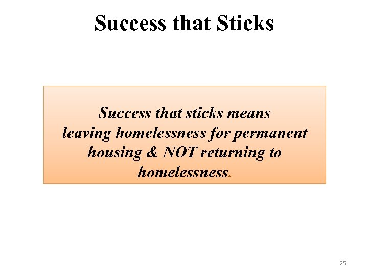 Success that Sticks Success that sticks means leaving homelessness for permanent housing & NOT