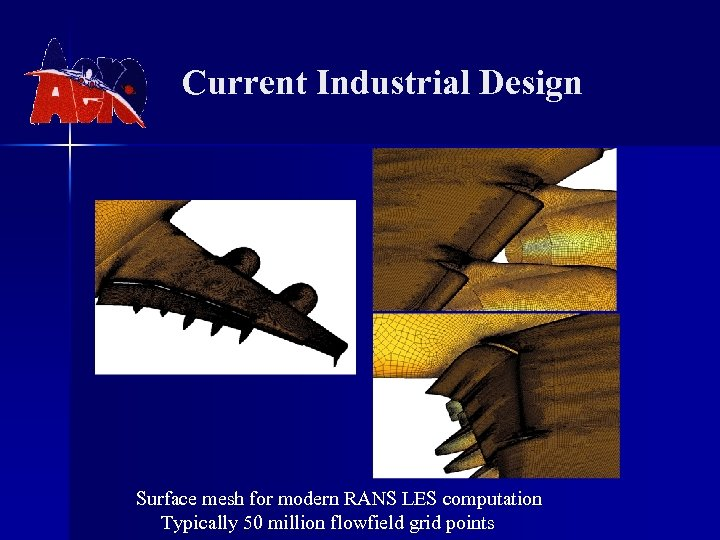 Current Industrial Design Surface mesh for modern RANS LES computation Typically 50 million flowfield
