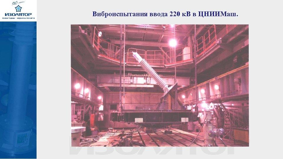 Виброиспытания ввода 220 к. В в ЦНИИМаш.
