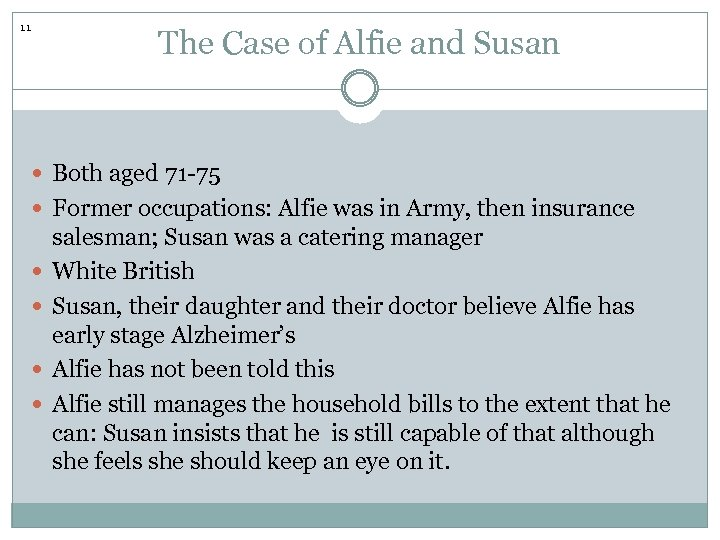 11 The Case of Alfie and Susan Both aged 71 -75 Former occupations: Alfie