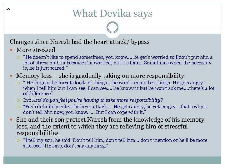 15 What Devika says Changes since Naresh had the heart attack/ bypass More stressed
