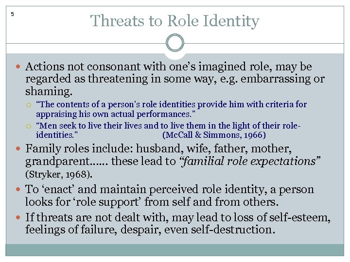 5 Threats to Role Identity Actions not consonant with one's imagined role, may be