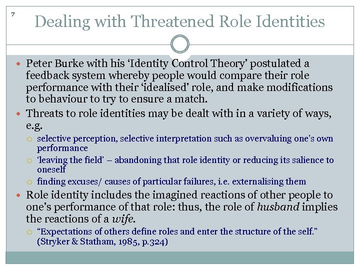 7 Dealing with Threatened Role Identities Peter Burke with his 'Identity Control Theory' postulated