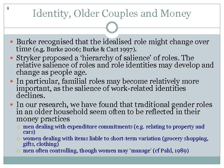8 Identity, Older Couples and Money Burke recognised that the idealised role might change