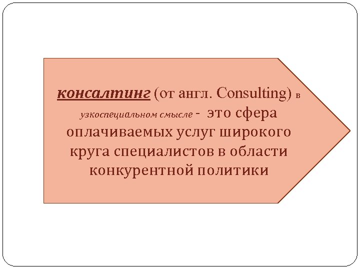 консалтинг (от англ. Consulting) в узкоспециальном смысле - это сфера оплачиваемых услуг широкого круга