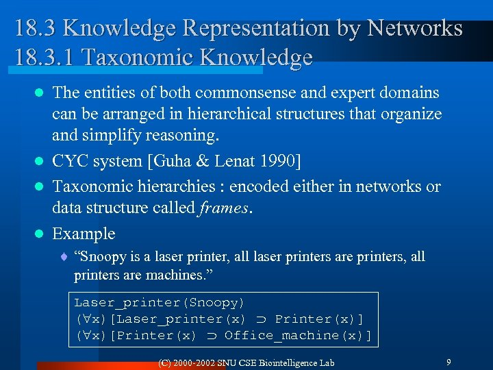18. 3 Knowledge Representation by Networks 18. 3. 1 Taxonomic Knowledge The entities of