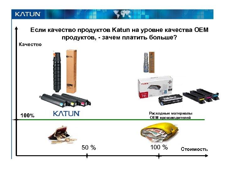 Если качество продуктов Katun на уровне качества OEM продуктов, - зачем платить больше? Качество