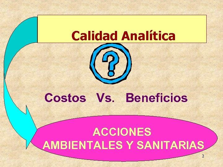 Calidad Analítica Costos Vs. Beneficios ACCIONES AMBIENTALES Y SANITARIAS 2