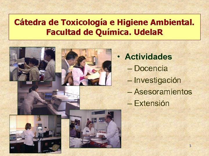Cátedra de Toxicología e Higiene Ambiental. Facultad de Química. Udela. R • Actividades –