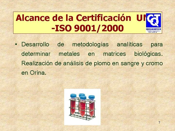 Alcance de la Certificación UNIT -ISO 9001/2000 • Desarrollo determinar de metodologías metales en