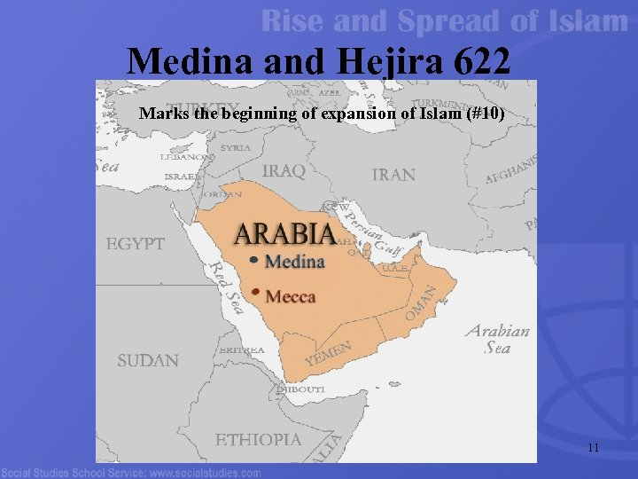 Medina and Hejira 622 Marks the beginning of expansion of Islam (#10) 11