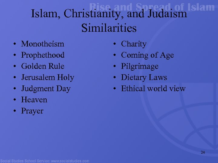 Islam, Christianity, and Judaism Similarities • • Monotheism Prophethood Golden Rule Jerusalem Holy Judgment