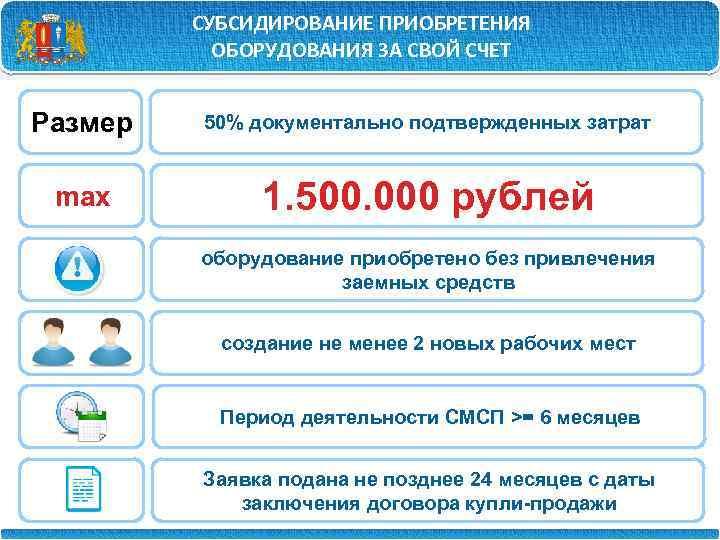 СУБСИДИРОВАНИЕ ПРИОБРЕТЕНИЯ ОБОРУДОВАНИЯ ЗА СВОЙ СЧЕТ Размер 50% документально подтвержденных затрат max 1. 500.
