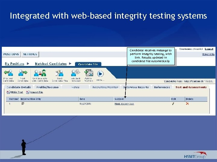 Integrated with web-based integrity testing systems Candidate receives message to perform integrity testing, with