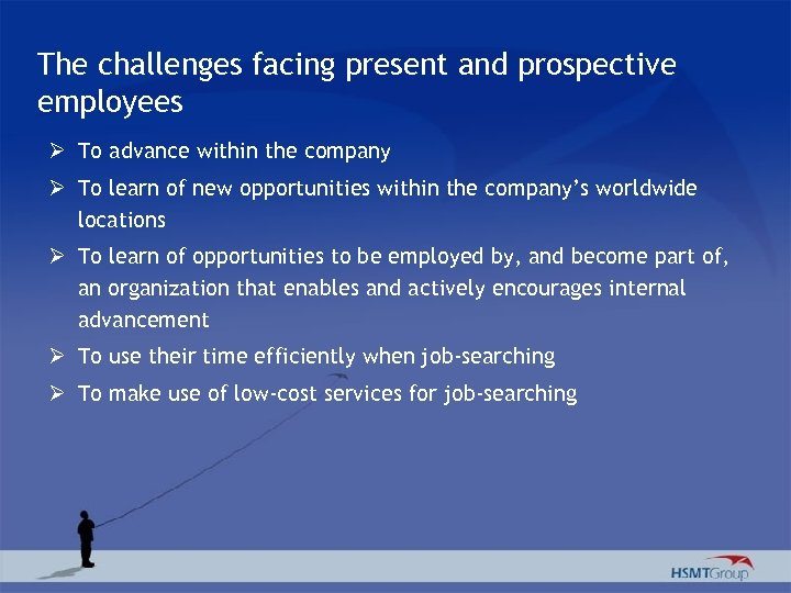 The challenges facing present and prospective employees Ø To advance within the company Ø
