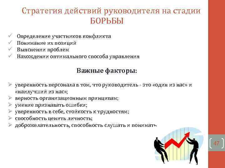 Стратегия действий руководителя на стадии БОРЬБЫ ü ü Определение участников конфликта Понимание их позиций