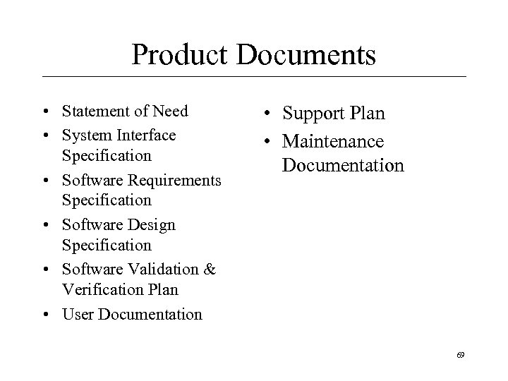 Product Documents • Statement of Need • System Interface Specification • Software Requirements Specification