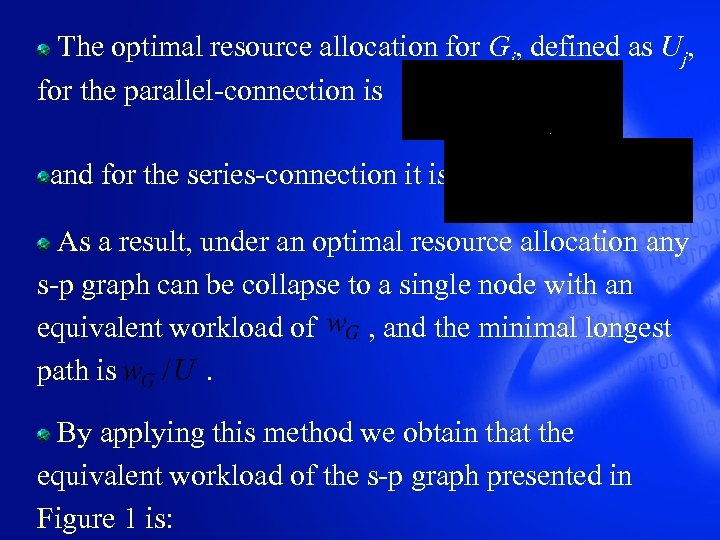 The optimal resource allocation for Gj, defined as Uj, for the parallel-connection is