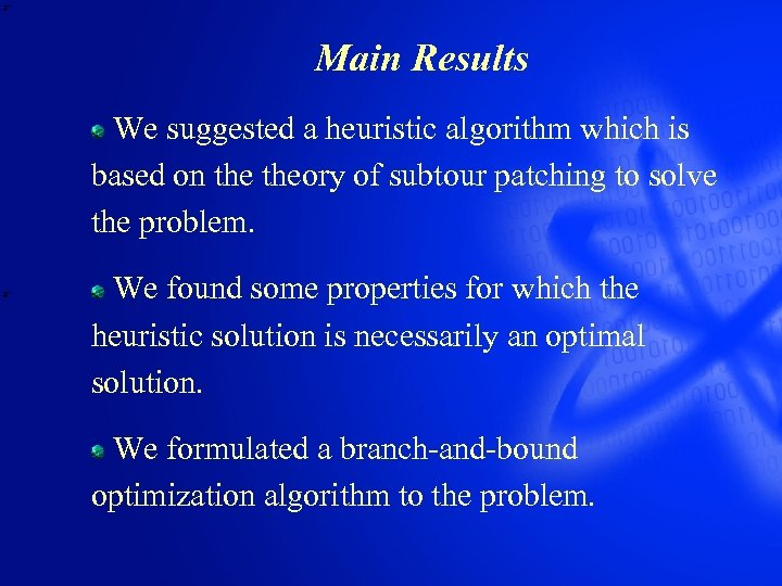 Main Results We suggested a heuristic algorithm which is based on theory of subtour