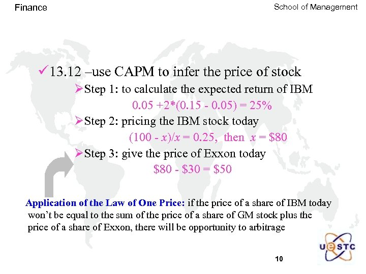 Finance School of Management ü 13. 12 –use CAPM to infer the price of