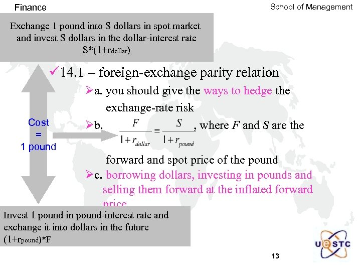 School of Management Finance Exchange 1 pound into S dollars in spot market and