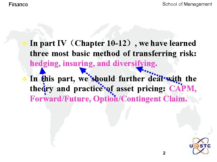 Finance School of Management v In part IV(Chapter 10 -12), we have learned three