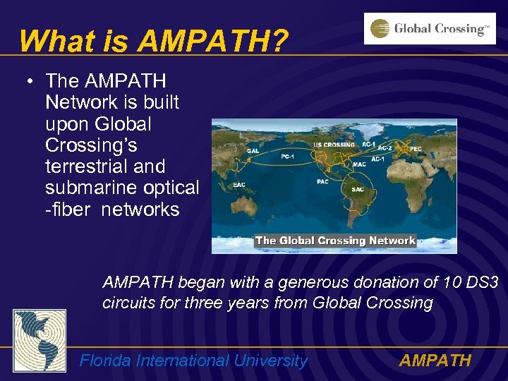 What is AMPATH? • The AMPATH Network is built upon Global Crossing's terrestrial and
