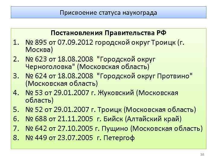 Присвоение статуса наукограда 1. 2. 3. 4. 5. 6. 7. 8. Постановления Правительства РФ