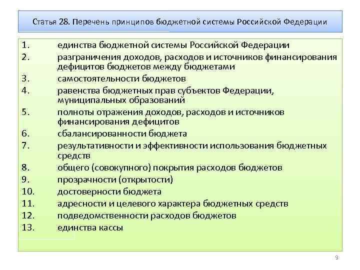 Статья 28. Перечень принципов бюджетной системы Российской Федерации 1. 2. 3. 4. 5. 6.