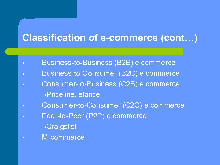 Classification of e-commerce (cont…) • • • Business-to-Business (B 2 B) e commerce Business-to-Consumer