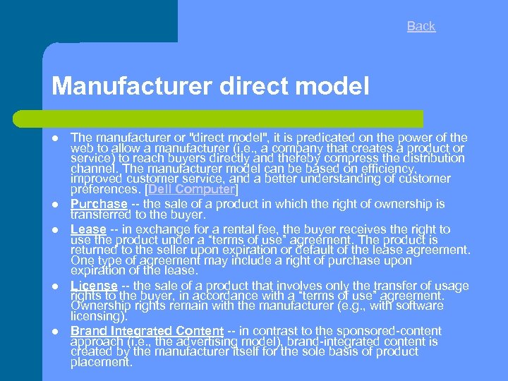 Back Manufacturer direct model The manufacturer or