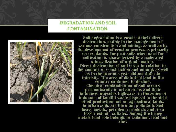 DEGRADATION AND SOIL CONTAMINATION. Soil degradation is a result of their direct destruction, mainly