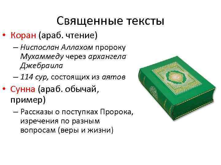 Священные тексты • Коран (араб. чтение) – Ниспослан Аллахом пророку Мухаммеду через архангела Джебраила