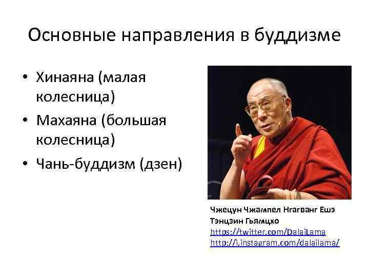 Основные направления в буддизме • Хинаяна (малая колесница) • Махаяна (большая колесница) • Чань-буддизм