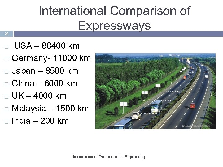 20 International Comparison of Expressways USA – 88400 km Germany- 11000 km Japan –