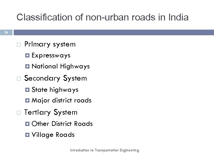 Classification of non-urban roads in India 24 Primary system Expressways National Highways Secondary System