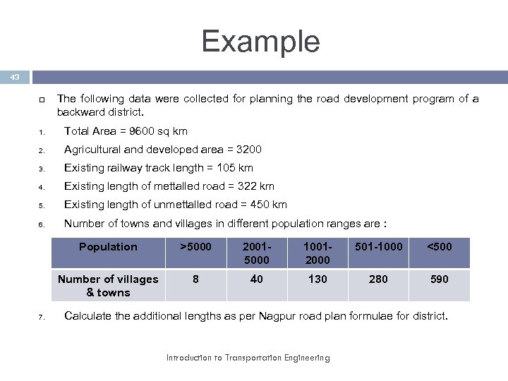 Example 43 The following data were collected for planning the road development program of