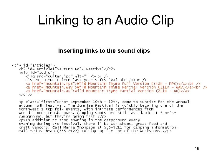 Linking to an Audio Clip Inserting links to the sound clips 19