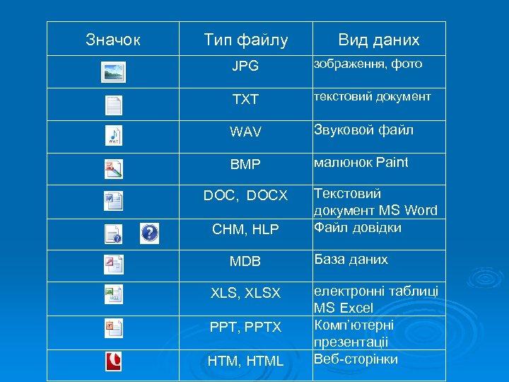 Значок Тип файлу Вид даних JPG зображення, фото TXT текстовий документ WAV Звуковой файл