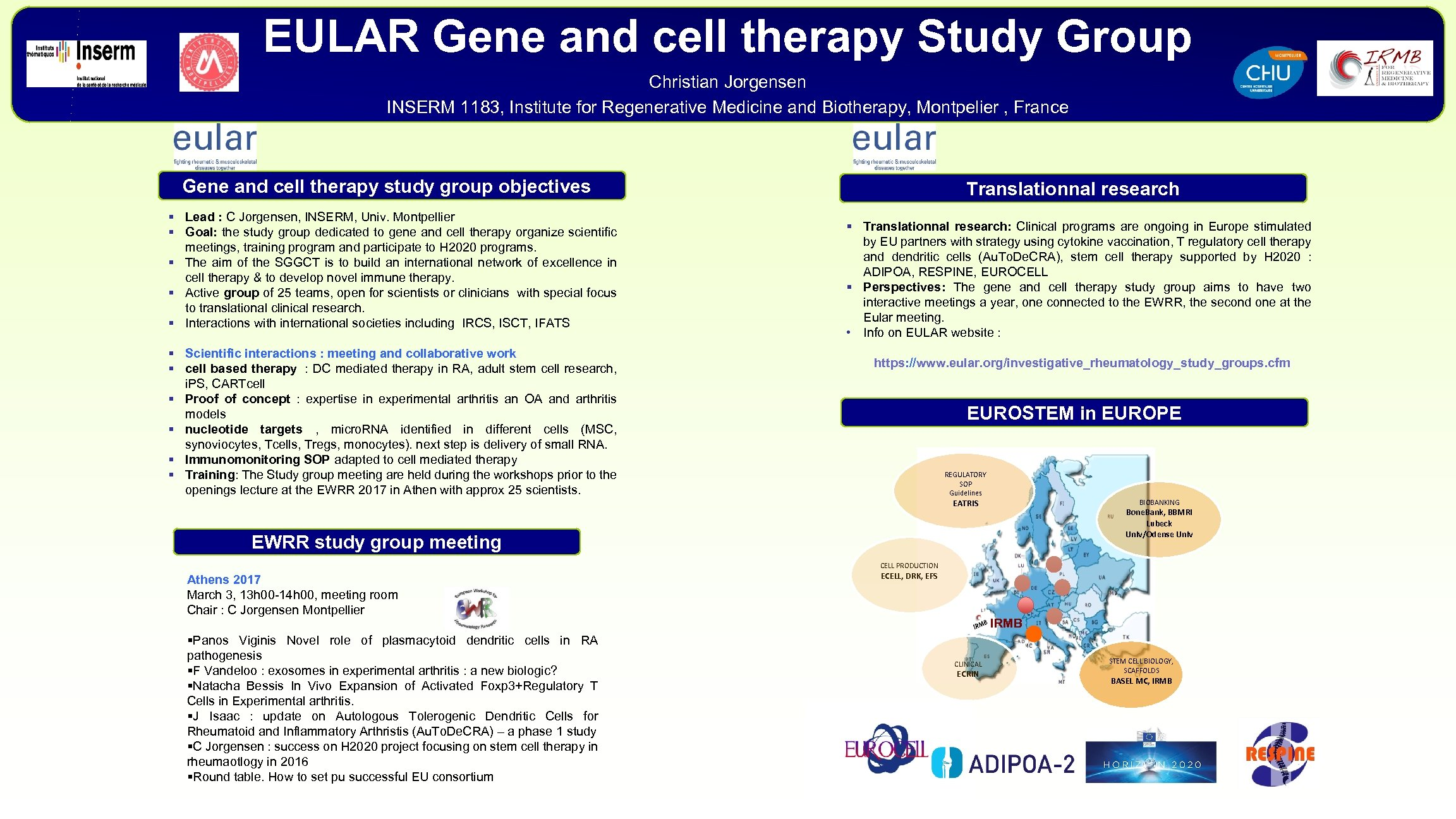EULAR Gene and cell therapy Study Group Christian Jorgensen INSERM 1183, Institute for Regenerative