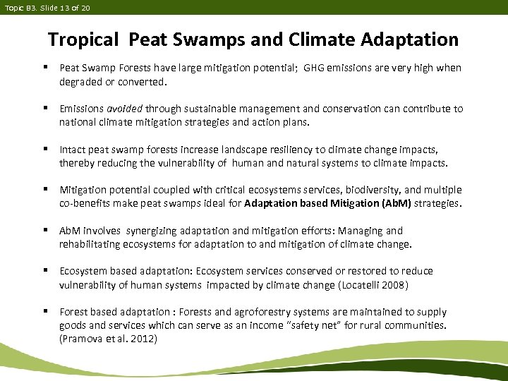 Topic B 3. Slide 13 of 20 Tropical Peat Swamps and Climate Adaptation §