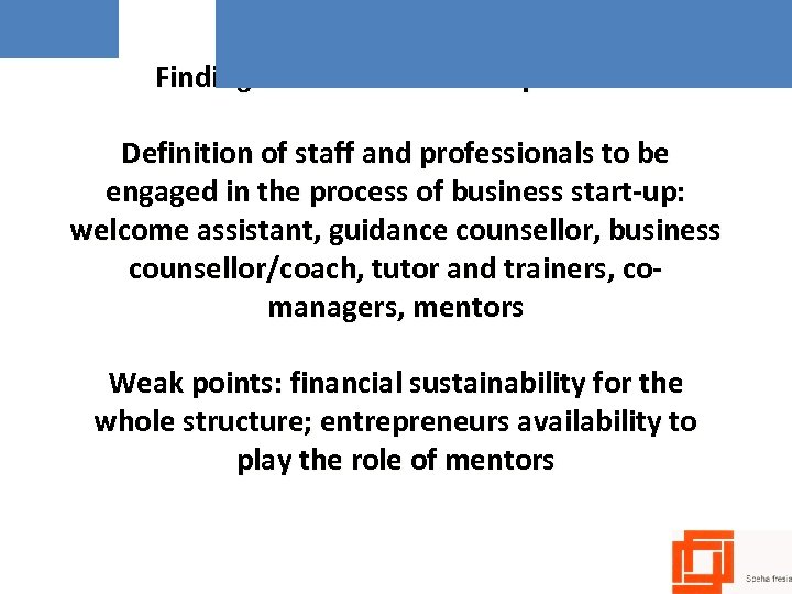 Findings from Incubators experience Definition of staff and professionals to be engaged in the